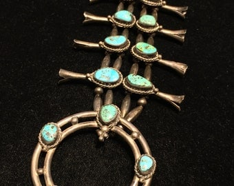 Gorgeous Vintage Classic Navajo Squash Blossom Native American Turquoise Indian Naja Sterling silver 925 patina old pawn