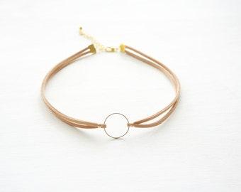 Choker necklace, Ivory choker, Geometric, Ring choker, Ivory and Gold Choker, Necklace, Jewelry, Bridesmaid Gift, Everyday Jewelry