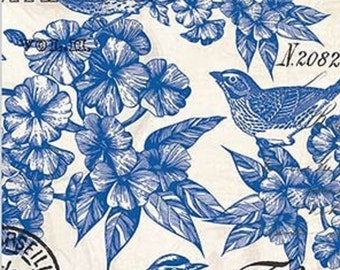 Two (2)  Paper Hostess Napkins for Decoupage and Paper Crafts, White and Blue Birds, Floral