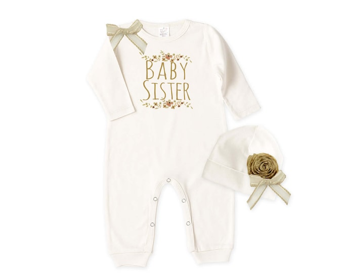 Baby Sister Coming Home Outfit, Newborn Girl Take Home Outfit, Baby Girl Outfit, Baby Sister Romper Beanie, Baby Sister Tesababe RC81IY63IY