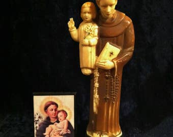 1950's Saint Anthony Rosary Holder Statue With Small Icon