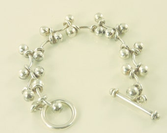 """Sterling Silver Rod and Ball Toggle Bracelet 7 1/2"""" (28.6 grams)"""