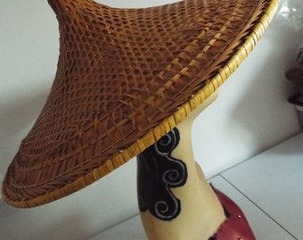 RARE ANTIQUE 1900-1920 Woven Asian Farmers Coolie Hat with mixed design of Straw Saipan  Great Condition..REDUCED