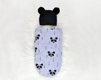Panda baby outfit - Swaddle Sack + BLACK eras hat - Panda Outfits - Gender Neutral Coming Home Outfit