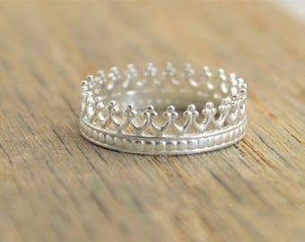 Sterling Crown Ring, Silver Princess Ring, Silver Ring, Silver Crown, Tiara Ring, Silver Crown Ring, Queen Ring, Princess Crown Ring, Crown