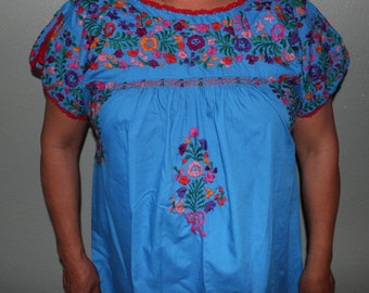 Beautiful Zapotec Traditional Oaxaca Mexican Handmade Embroidered Blouse Blue Colorful Handmade