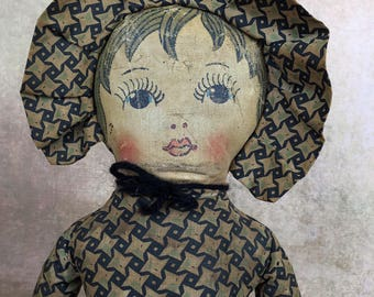 vintage handmade doll, cloth doll, rag doll, primitive fabric doll, folk art doll, Nelly Kelly