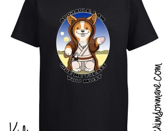 Cute Corgi Yoda Jedi Star Wars T-Shirt