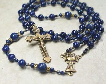 First Communion Rosary; Blue Holy Communion Rosary; Catholic Gifts