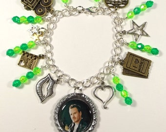 Michael Fassbender Inspired Charm Bracelet With 9 Charms & Beads - Makes A Great Gift Item