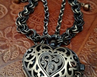 """Watch Necklace: """"Heart Stopper"""""""