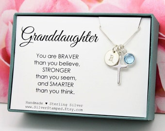 Easter gift for goddaughter gift necklace sterling silver easter gift for granddaughter jewelry sterling silver initial birthstone necklace granddaughter birthday graduation baptism negle Gallery