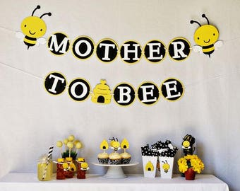 Mother to Bee! Baby reveal decorations. Baby Shower decorations. Banner, Cupcakes, Food labels, Centerpieces, Cupcake picks, Straws.