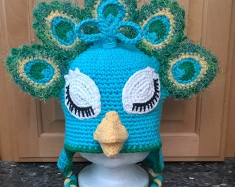 Made To Order Crochet Peacock Hat 6mos-Adult Lg