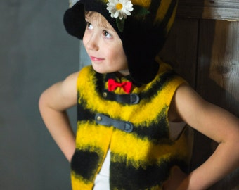 """Felted vest for the boy """"Young bee"""""""