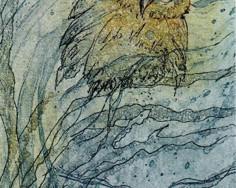OWL forest nature ACEO original etching illustration graphic print collecting art wedding birthday gift