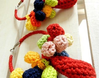 Circle earring crochet jewellery multicolor earrings knitted jewelry original hand knitted earrings chunky textile Hoop Earrings red yellow