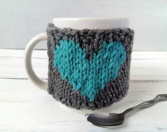Heart Coffee Mug Warmer - Coffee Warmer - Birthday Gift for Her - Mug Cozy - Knit Coffee Cozy – Coffee Cup Cozy - Cup Warmer - Heart Cozy