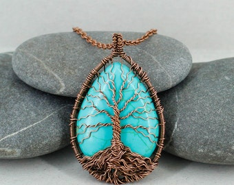 Tree-of-life necklace Gift-for-her gift-for-mom gifts-for-sister birthday gift-for-wife gift Blue necklace Turquoise necklace Boho jewelry