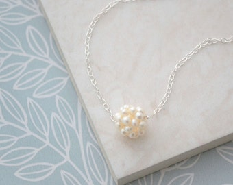 Sterling Silver Freshwater Pearl Cluster Necklace, Cream Pearl Bridal Jewelry, Flower Girl Bridesmaid Wedding Gift