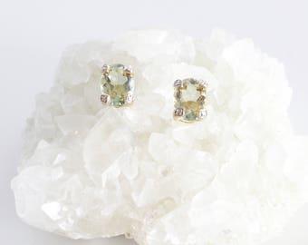 Vintage Earrings, Topaz Earrings14K Gold, Gemstone Earrings, Oval Stud Earrings