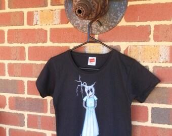 Flower Girl T Shirt - Original Art, Hand Painted, One and Only, Black Womens T Shirt