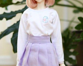BJD SD Girl Pocket Milk Sweatshirt – White