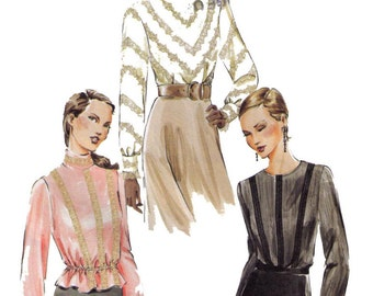 Uncut Vogue 7734 Sewing Pattern, Size 6-10 Misses' Blouse Semi-fitted, Long Sleeves Blouse Lace, Turtleneck Top Winter Fashion