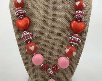 My Lil Love Bug Red Heart Valentine's Day Rhinestone Chunky Bubblegum Necklace