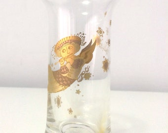 Vintage Rosenthal, signed BJORN WIINBLAD mini glass vase, with gold transferware