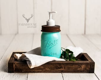 Vintage Blue Mason Jar Soap Dispenser | Rustic Bathroom | Farmhouse Bathroom | Mason Jar Decor | Farmhouse Soap Dispenser | Vanity Organizer