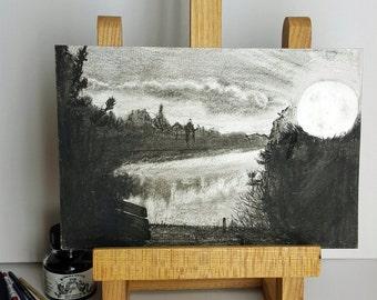 Small Landscape Drawing Original Art work - Full Moon - 14x12cm - Ink & Charcoal