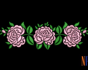 INSTANT DOWNLOAD - Three pink roses pattern machine embroidery design.  Flowers embroidery design. Beautiful pink roses. Embroidery file
