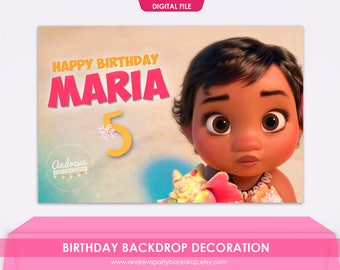 Moana Backdrop, Moana Birthday, Moana Banner, Moana Party, Baby Moana digital, Disney Moana, Moana Poster, moana background, printables
