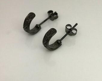 Tribal hoop earrings, rustic black hoop earrings, guy's half hoop earrings, light weight earrings,  557F