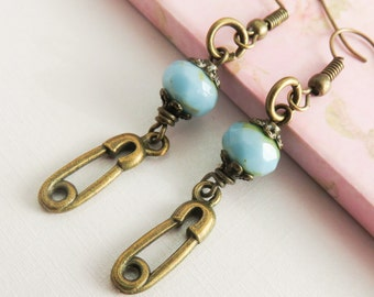 Safety pin earrings, long dangle earrings, safety pin jewelry, turquoise blue earrings, gift for her, rustic bronze jewelry