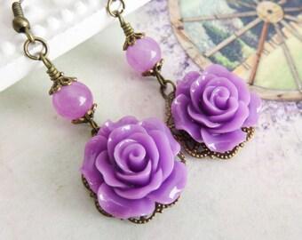Purple flower earrings, dangle earrings, rustic rose earrings, romantic jewelry, gift for her, rustic jewelry