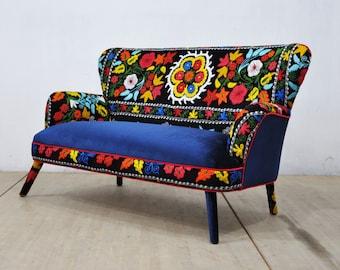 Suzani 2 seater sofa - blues