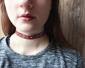 Red embroidered tribal style choker necklace | Festival and summer jewelry | Ribbon choker |