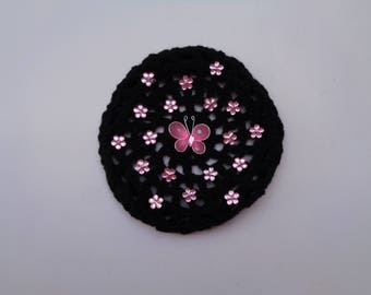 SALE! Medium Bun Cover with Pink Flower Rhinestones and Butterfly, Many Colors, Bun Holder, Bun Cover, Snood, Bun Wrap, Ballet, Dance