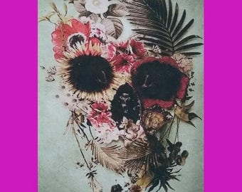 Floral Skull Canvas Patch