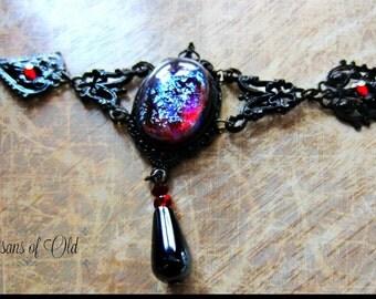 Dragons Breath Opal Choker, Mexican Fire Opal Choker, Gothic Black Choker, Made to Order
