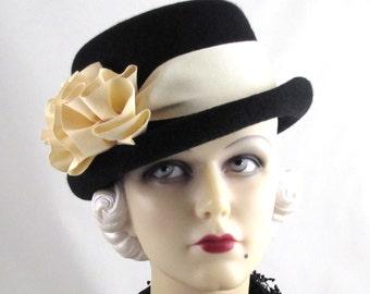 Womens Hat Black Cashmere Fur Felt Bowler Fedora Cream Rose Handmade Hat Derby Ascot Races Church Hat Art Deco Custom Made for Each Client