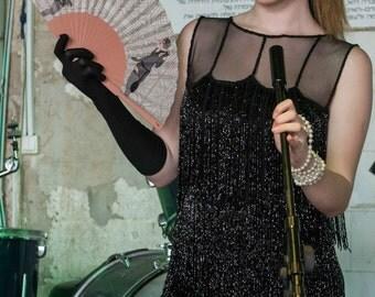 Designer HAND FAN | Retro style print | women in Charleston style dress | beige colors | fashion accessories | Free Shipping Worldwide