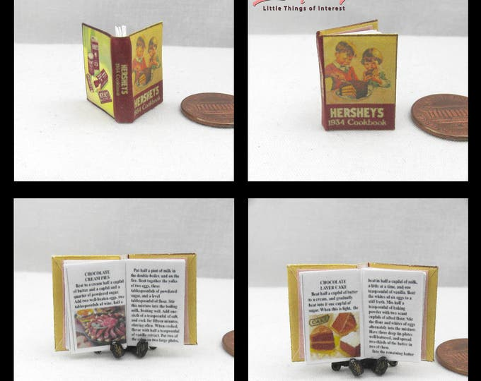 1:12 Miniature Dollhouse HERSHEY CHOCOLATE COOKBOOK Downloadable Miniature Book Cook Book Download Print Kitchen Stove Pan