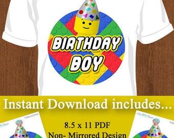 Printable Building Blocks Iron-on T-shirt Design - Birthday Boy - Instant Download