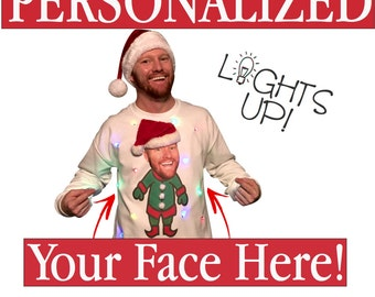 UGLY CHRISTMAS SWEATER Lights Up with Your Face!!!  Put your own face, friend, celebrity, or pet on an elf body!!!   ___**Fast Shipping**__