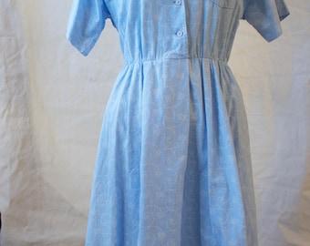 Vintage 80's Blue Button Up Cotton Midi Dress // Collared Short Sleeve Denim Blue
