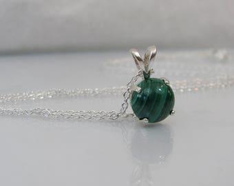 Natural Malachite Necklace in Sterling Silver, African Malachite, Malachite Jewelry, 8mm Round Malachite Gemstone, Green Malachite Pendant