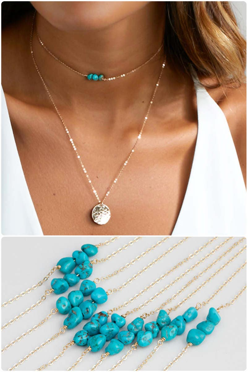 chain choker necklace turquoise necklace beaded choker